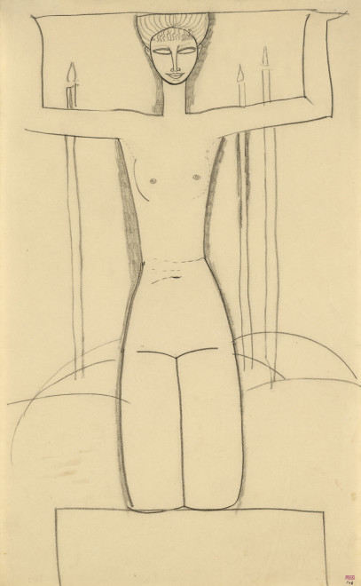 <span class=&#34;artist&#34;><strong>Amedeo Modigliani</strong></span>, <span class=&#34;title&#34;><em>Caryatid, Frontal View, Kneeling on Plinth; Three Lighted Candles</em>, c.1911</span>
