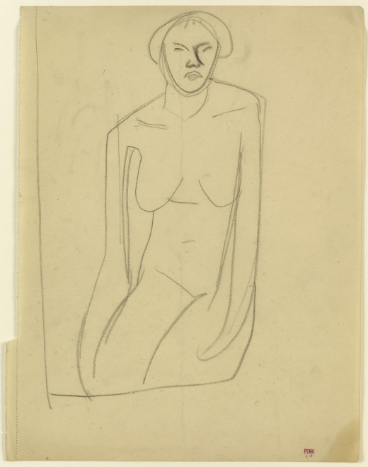 """<span class=""""artist""""><strong>Amedeo Modigliani</strong></span>, <span class=""""title""""><em>Study of Seated Female Nude, Frontal View, Arms Hanging</em>, c.1909</span>"""