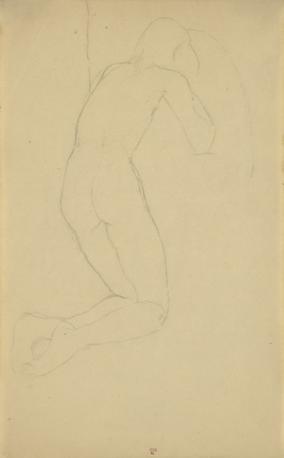 """<span class=""""artist""""><strong>Amedeo Modigliani</strong></span>, <span class=""""title""""><em>Kneeling Male Nude, Back View, Three Quarters to Right</em>, c.1906</span>"""