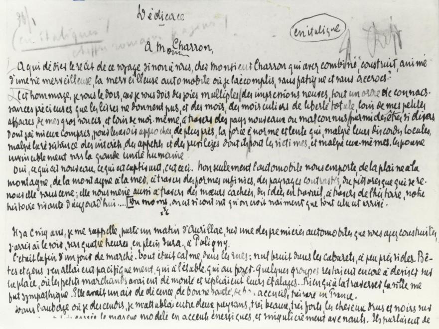 Mirbeau's Handwritten Dedication to Monsieur Charron, Manufacturer of his Motorcar