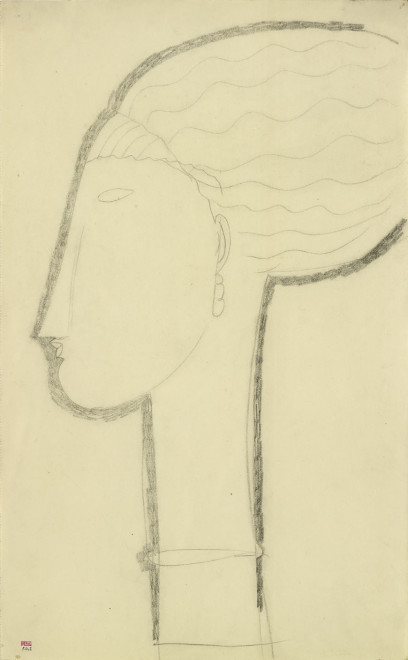 """<span class=""""artist""""><strong>Amedeo Modigliani</strong></span>, <span class=""""title""""><em>Head in Left Profile with Earring and Necklace</em>, c.1911</span>"""