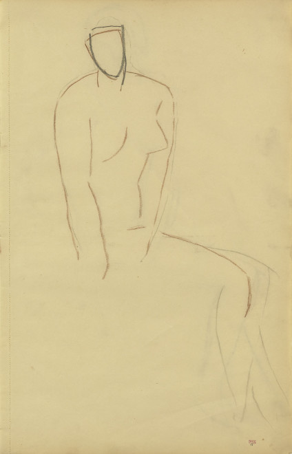 <span class=&#34;artist&#34;><strong>Amedeo Modigliani</strong></span>, <span class=&#34;title&#34;><em>Study of Seated Female Nude, Three-Quarter View to Right</em>, c.1907</span>
