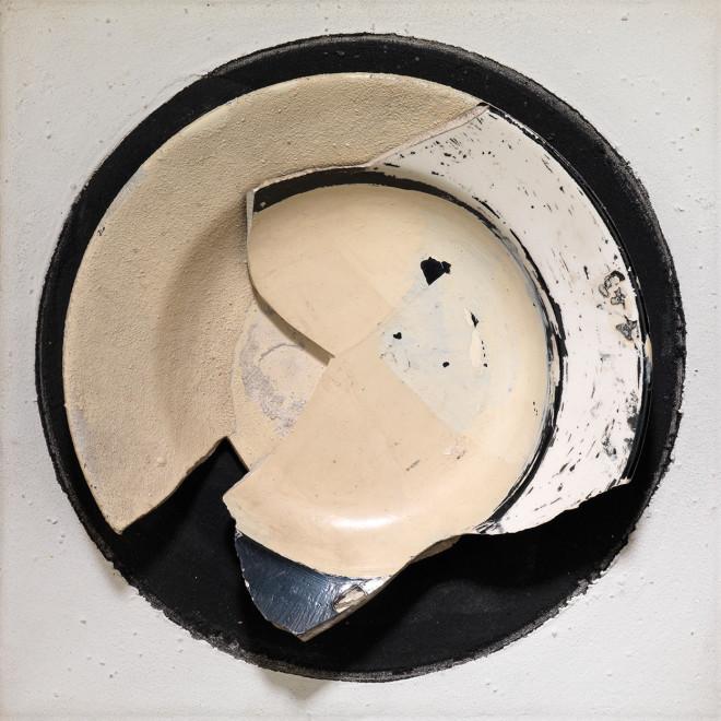 """<span class=""""artist""""><strong>Reinhold Koehler</strong></span>, <span class=""""title""""><em>Objet Décollagé 1962 X</em>, 1962</span>"""