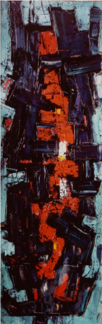 """<span class=""""artist""""><strong>Frank Avray Wilson</strong></span>, <span class=""""title""""><em>FAW802 Red Nucleating</em>, 1955</span>"""