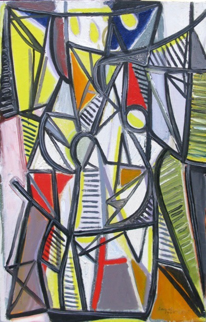 """<span class=""""artist""""><strong>Caziel</strong></span>, <span class=""""title""""><em>WC645 - Abstract Composition</em>, 1945</span>"""
