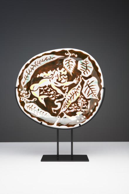 "<span class=""artist""><strong>Jean Lurçat</strong></span>, <span class=""title""><em>Plate - Oval -  Brown & White - Sirens</em>, c. 1955</span>"