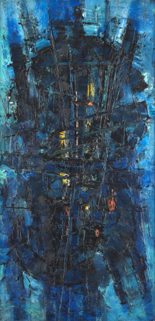"<span class=""artist""><strong>Frank Avray Wilson</strong></span>, <span class=""title""><em>FAW803 - Blue Constellation</em>, c. 1954</span>"