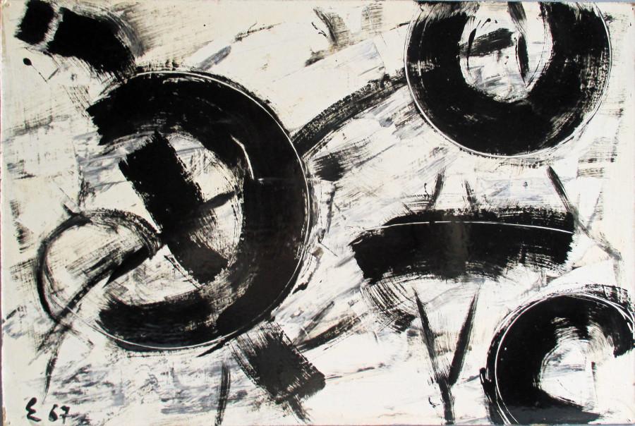"""<span class=""""artist""""><strong>Elie Borgrave</strong></span>, <span class=""""title""""><em>Pôles dans le Temps</em>, 1967</span>"""
