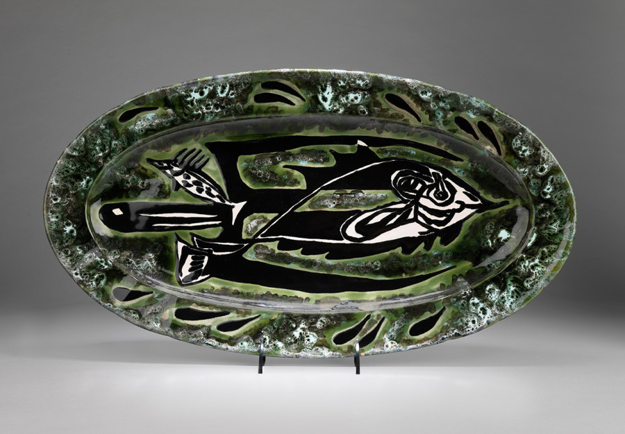 Plate - Oval - Green & White - Trident