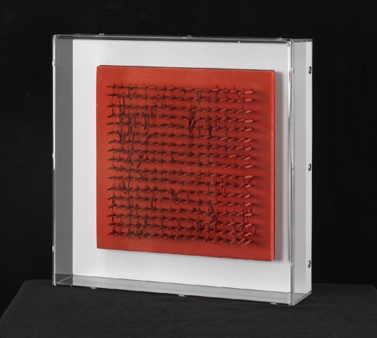 """<span class=""""artist""""><strong>Bernard Aubertin</strong></span>, <span class=""""title""""><em>Tableau Clous</em>, 1970</span>"""