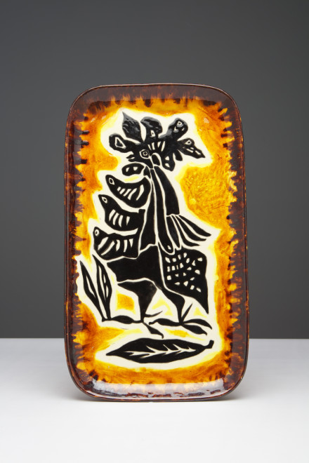 "<span class=""artist""><strong>Jean Lurçat</strong></span>, <span class=""title""><em>Plate - Rectangular - Orange & Brown - Daybreak</em>, c. 1955</span>"
