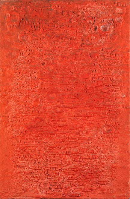 """<span class=""""artist""""><strong>Reinhold Koehler</strong></span>, <span class=""""title""""><em>Sandbild ROT </em>, 1958-1959</span>"""
