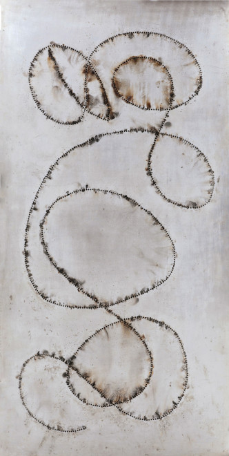 """<span class=""""artist""""><strong>Bernard Aubertin</strong></span>, <span class=""""title""""><em>Tableau Feu</em>, 1968</span>"""