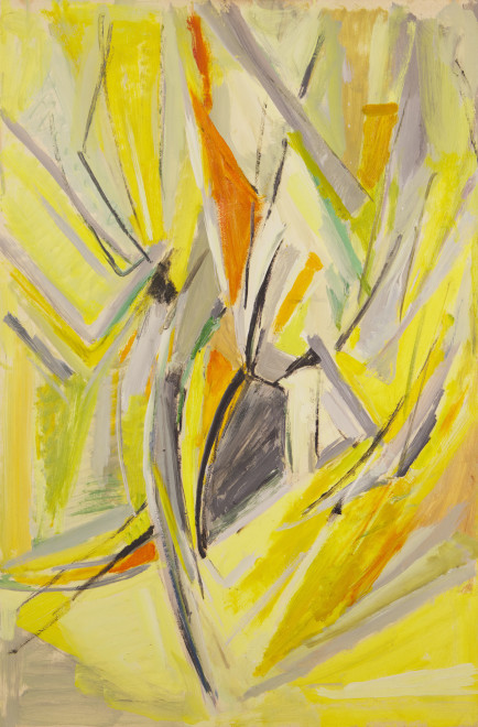 """<span class=""""artist""""><strong>Mildred Bendall</strong></span>, <span class=""""title""""><em>Yellow Composition</em>, c. 1963</span>"""