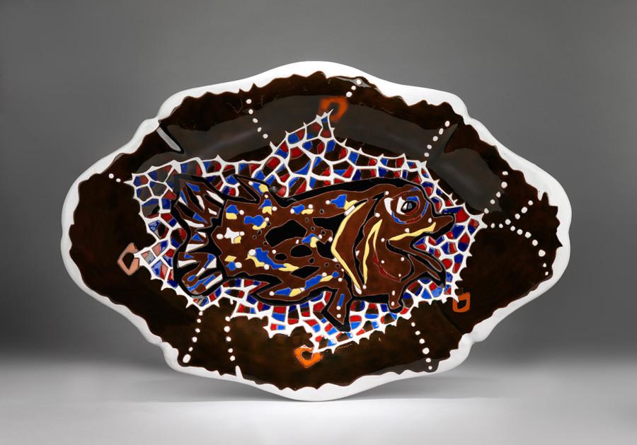 Plate - Irregular - Brown & White - Aquarium