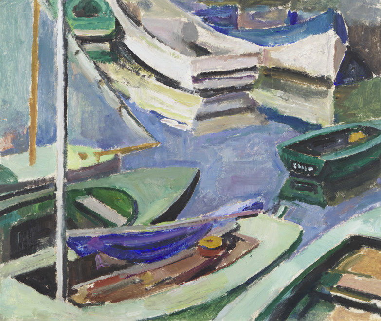 """<span class=""""artist""""><strong>Mildred Bendall</strong></span>, <span class=""""title""""><em>Barques</em>, c. 1935</span>"""