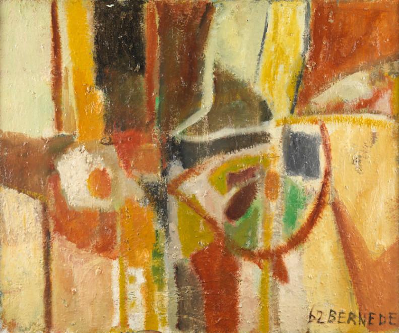 """<span class=""""artist""""><strong>Georges Bernède</strong></span>, <span class=""""title""""><em>C065 - Composition 62 - 2 - Nature Morte</em>, 1962</span>"""