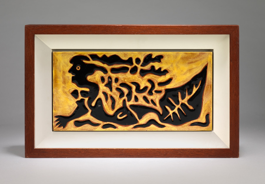 "<span class=""artist""><strong>Jean Lurçat</strong></span>, <span class=""title""><em>Tile - Rectangular - Yellow - Siren</em>, c. 1950</span>"