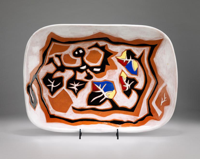 "<span class=""artist""><strong>Jean Lurçat</strong></span>, <span class=""title""><em>Plate - Rectangular - Brown & White - Tree Nymph</em>, c. 1955</span>"