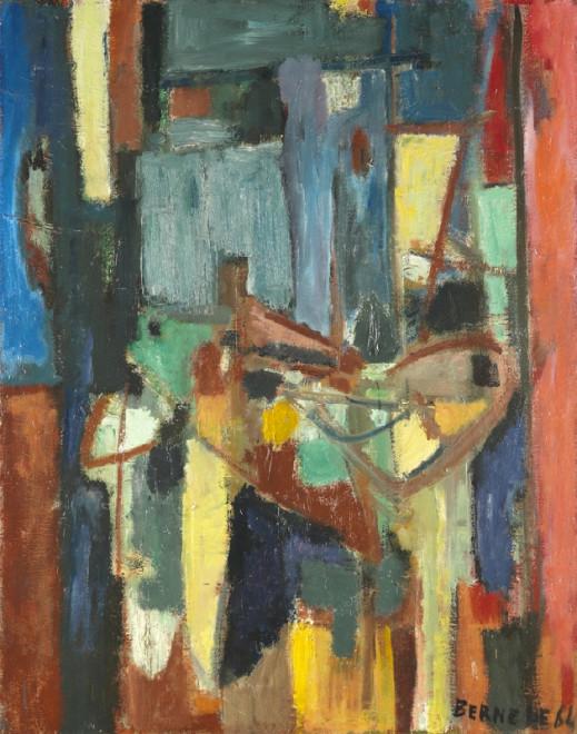 """<span class=""""artist""""><strong>Georges Bernède</strong></span>, <span class=""""title""""><em>C066 - Composition 64 - 2 - Nature Morte à la Chaise Bleue</em>, 1964</span>"""
