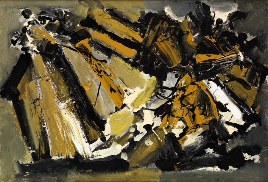"<span class=""artist""><strong>Frank Avray Wilson</strong></span>, <span class=""title""><em>FAW832 - Configuration in Ochre and Grey</em>, c. 1957</span>"