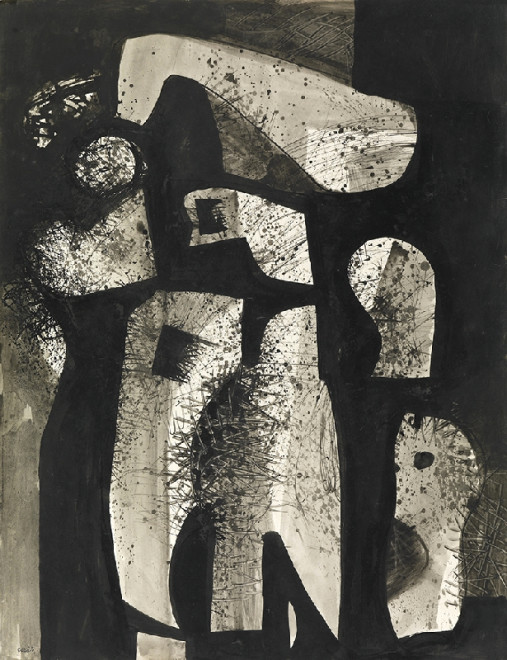 "<span class=""artist""><strong>Caziel</strong></span>, <span class=""title""><em>WC721 - Forms in Space</em>, c. 1951</span>"