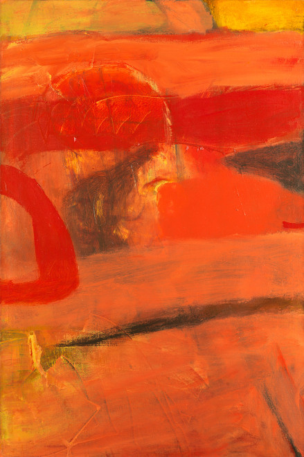 """<span class=""""artist""""><strong>Albert Irvin RA</strong></span>, <span class=""""title""""><em>Echoing Red</em>, c.1965</span>"""