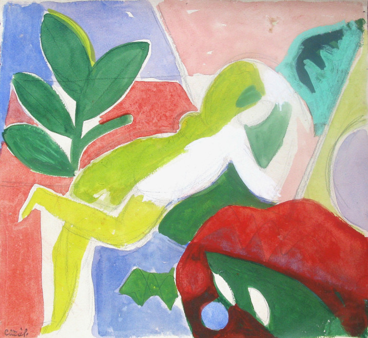 "<span class=""artist""><strong>Caziel</strong></span>, <span class=""title""><em> Reclining Nude</em>, c. 1938</span>"