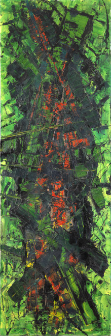 """<span class=""""artist""""><strong>Frank Avray Wilson</strong></span>, <span class=""""title""""><em>FAW850 - Configuration in Green and Red</em>, 1959</span>"""