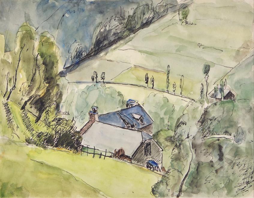 "<span class=""artist""><strong>Mildred Bendall</strong></span>, <span class=""title""><em>Hillside View</em>, c. 1920</span>"