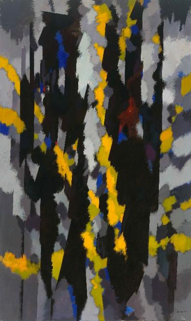 "<span class=""artist""><strong>William Gear RA</strong></span>, <span class=""title""><em>Vertical, Yellow Flash</em>, 1964</span>"