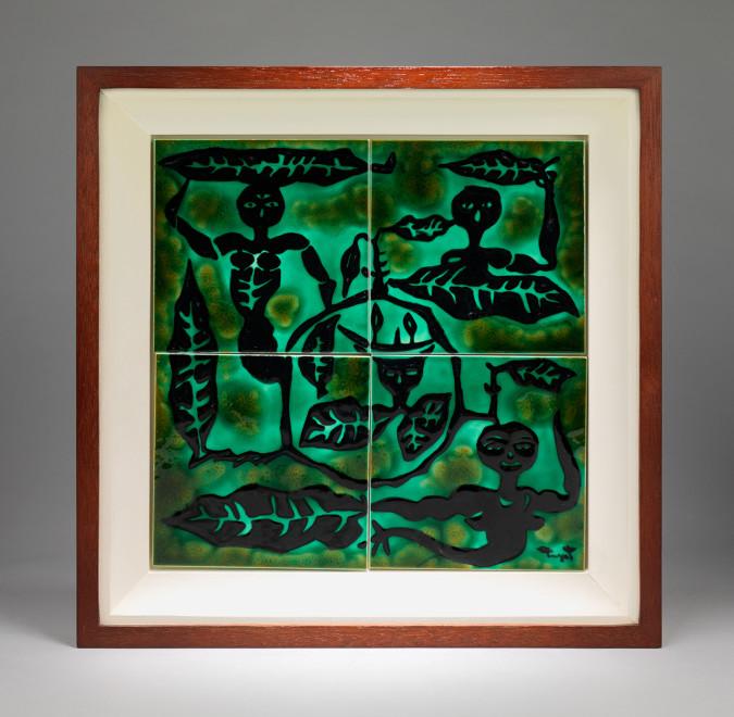"<span class=""artist""><strong>Jean Lurçat</strong></span>, <span class=""title""><em>Tile - Square - Green - Four Tiles - Spirits of Nature</em>, c. 1955</span>"