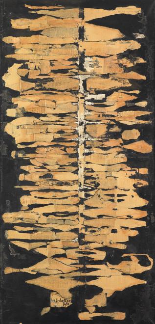 "<span class=""artist""><strong>Reinhold Koehler</strong></span>, <span class=""title""><em>THORAX  für N.K. 1961, Décollage Positiv-Negativ</em>, 1961</span>"