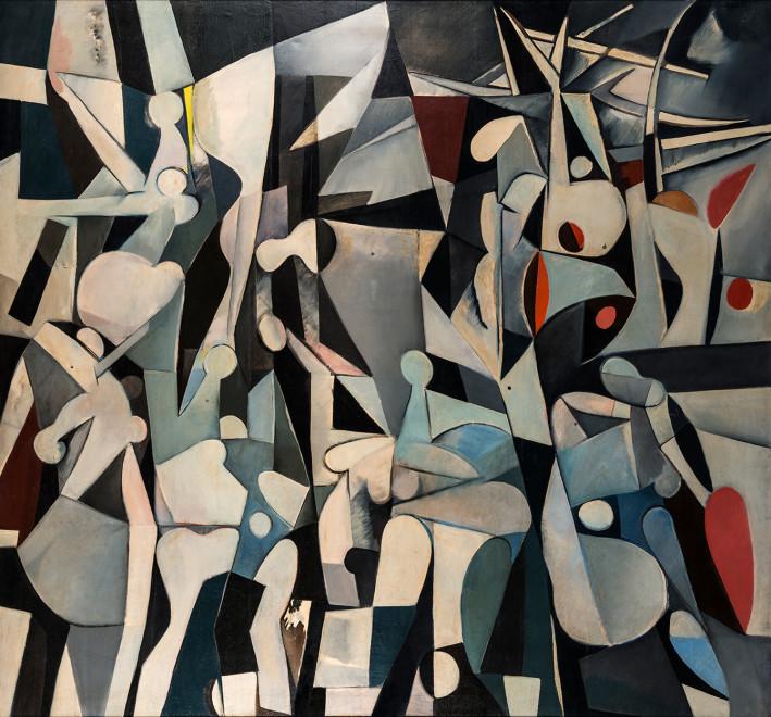 """<span class=""""artist""""><strong>Caziel</strong></span>, <span class=""""title""""><em>WC151 - La Guerre</em>, 1953</span>"""