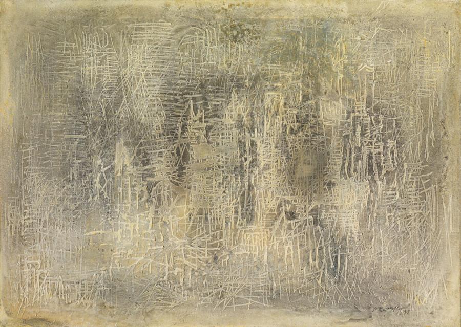 """<span class=""""artist""""><strong>Reinhold Koehler</strong></span>, <span class=""""title""""><em>Sandbild 58 II</em>, 1958</span>"""