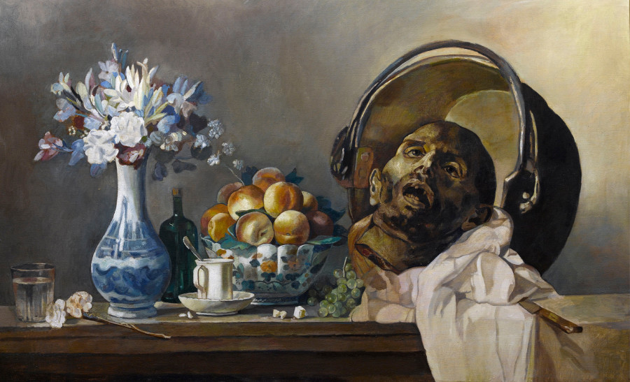 Wolfe von Lenkiewicz, Still Life (Peaches amd Guillotined Head), 2013
