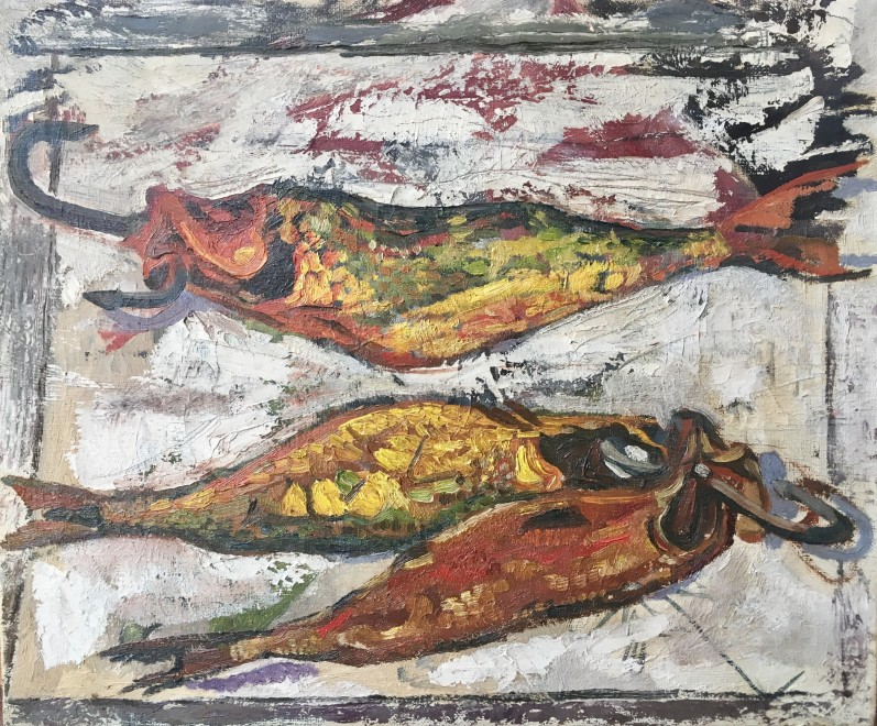 ADRIAN RYAN (1920-1998)  STILL LIFE WITH FISH, c. 1958