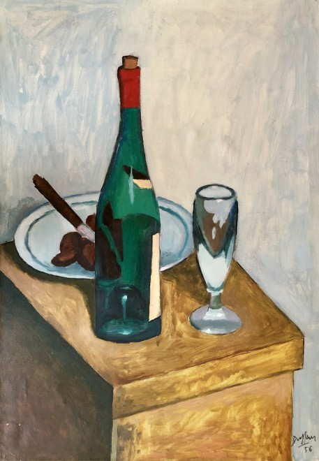 Jacques André Duffour, Still Life with Wine Bottle and Glass, 1956