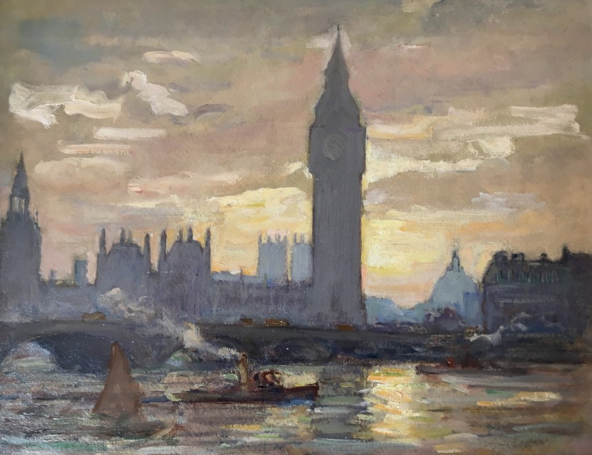 ALFRED JOHN BILLINGHURST (1880-1965)  The Thames at Westminster, c. 1920