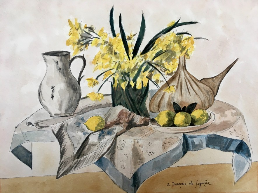 André Dunoyer de Segonzac, Still life with flowers, fruit and jugs, 1931