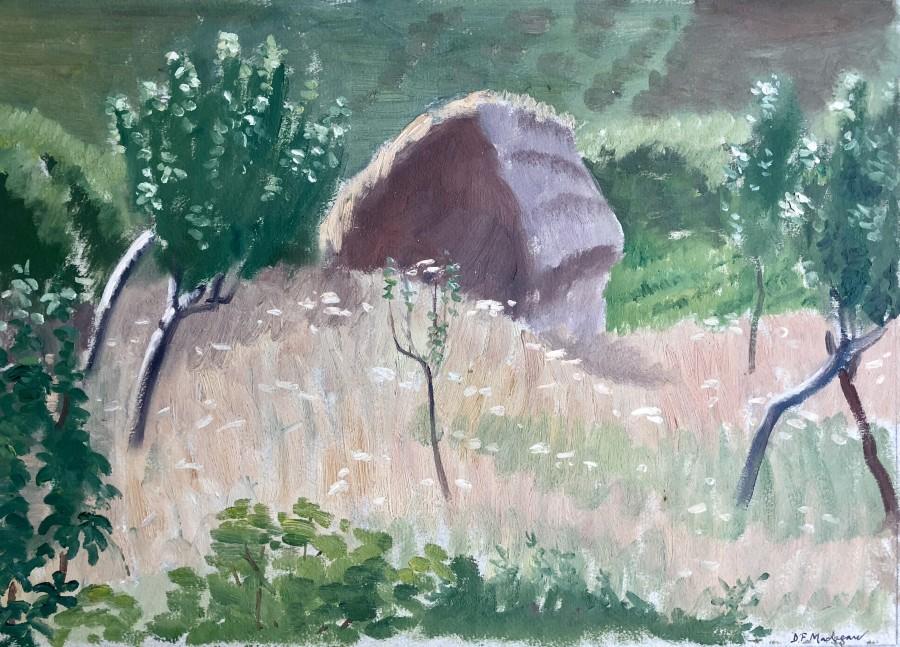 Dorothea Maclagan, Landscape with Haystack, 1930's  5.5 x 10 inches