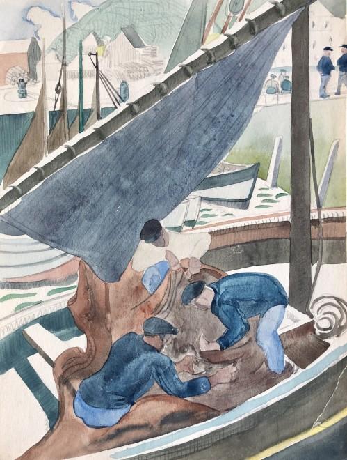 Doris Hatt, Fishermen, Honfleur, 1931