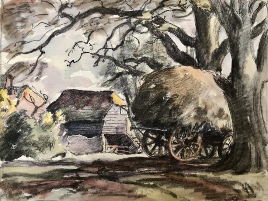 Ethelbert White, Sussex Farm and Haycart, c. 1930