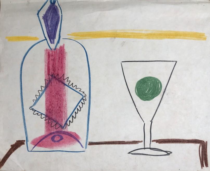 Carlos Carnero, Nature morte avec bouteille et verre, c. 1950