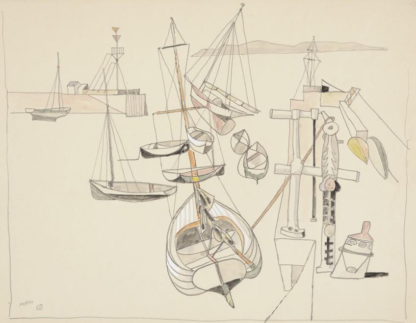 Walter Nessler, St. Aubin's Harbour, 1950