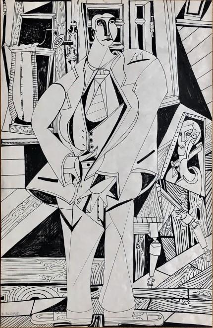 René Audebes, Self Portrait in the Artist's Studio, 1950