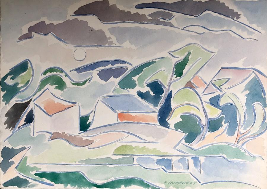 Peter Humphrey, Landscape with Outbuildings, 1945