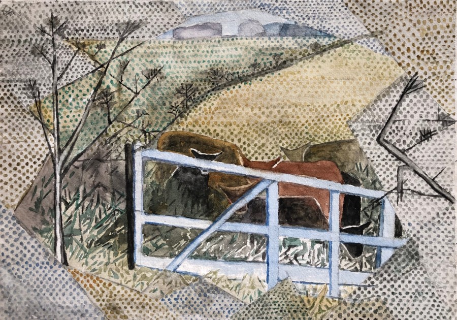 Edith Lawrence, Farm Gate and Cattle, c. 1928