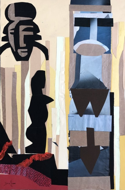 Jacques André Duffour, Tribal Figures, c. 1950's  16 x 12 inches