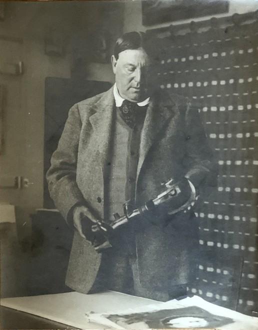 Man Ray, Maurice de Vlaminck with a Fang (Gabon) Figure, c. 1920
